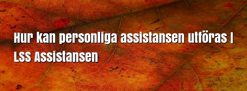 Hur kan personliga assistansen utföras | LSS Assistansen