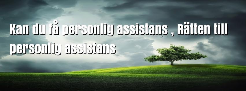 Kan du få personlig assistans , Rätten till personlig assistans